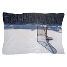 hockey net on outdoor ice rink Pillow Case