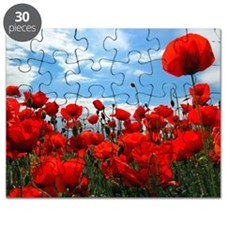 Red poppy flowers field Puzzle