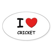 I love cricket Oval Decal