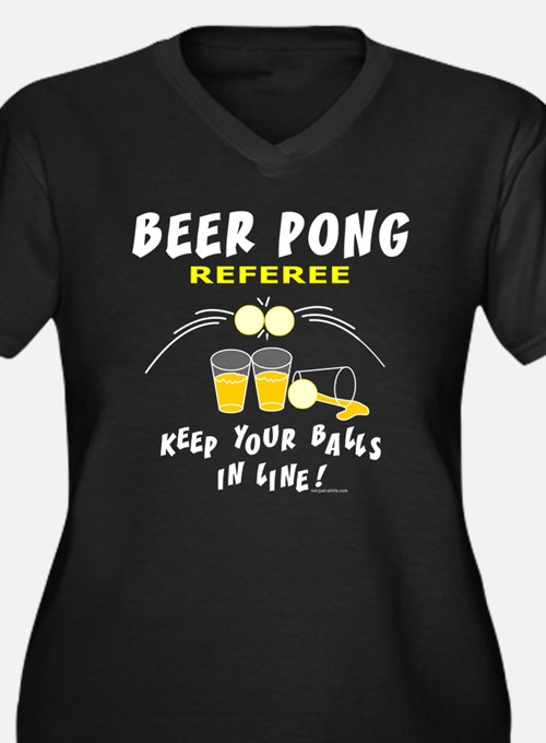 Beer Pong Referee Women's Plus Size V-Neck Dark T-