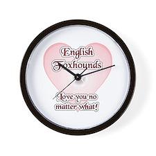 English Fox Love U Wall Clock