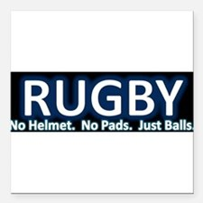 "Cute Rugby Square Car Magnet 3"" x 3"""