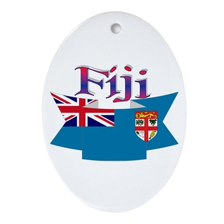 Fiji flag ribbon Oval Ornament
