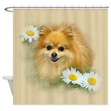 Pomeranian 404 8x8 flowers.jpg Shower Curtain