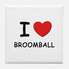 I love broomball  Tile Coaster