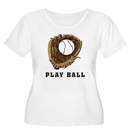 Play Ball Women's Plus Size Scoop Neck T-Shirt