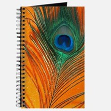 Glitter Orange Peacock Feather Still life Journal