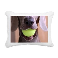 Tennis ball in dog's mou Rectangular Canvas Pillow