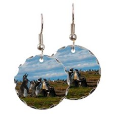 Penguins singing Earring Circle Charm
