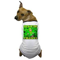 Luck of the Irish Leprechaun Dog T-Shirt