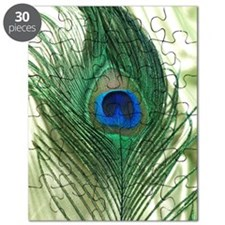 Green Apple Peacock Feather Puzzle