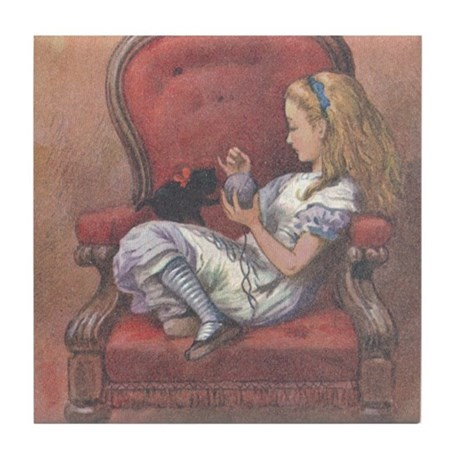 Alice in Chair Tile Coaster