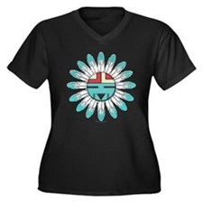 Hopi Sunface Women's Plus Size V-Neck Dark T-Shirt