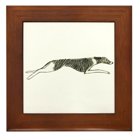 Leaping Whippet Framed Tile