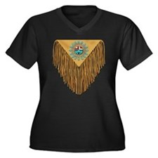 Hopi Sunface Leather Yoke Women's Plus Size V-Neck