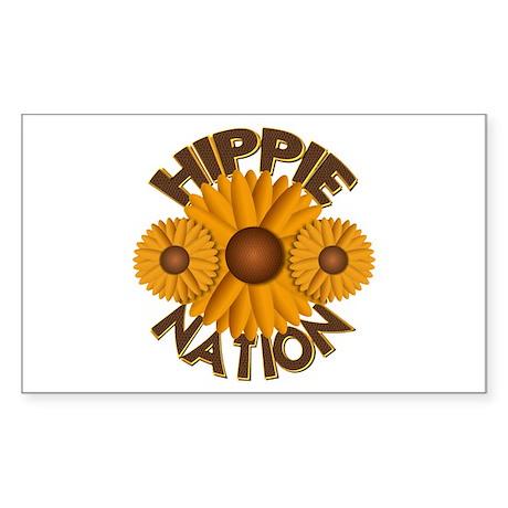 Hippie Nation Yellow Daisy Rectangle Sticker