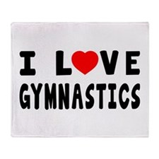 I Love Gymnastics Throw Blanket