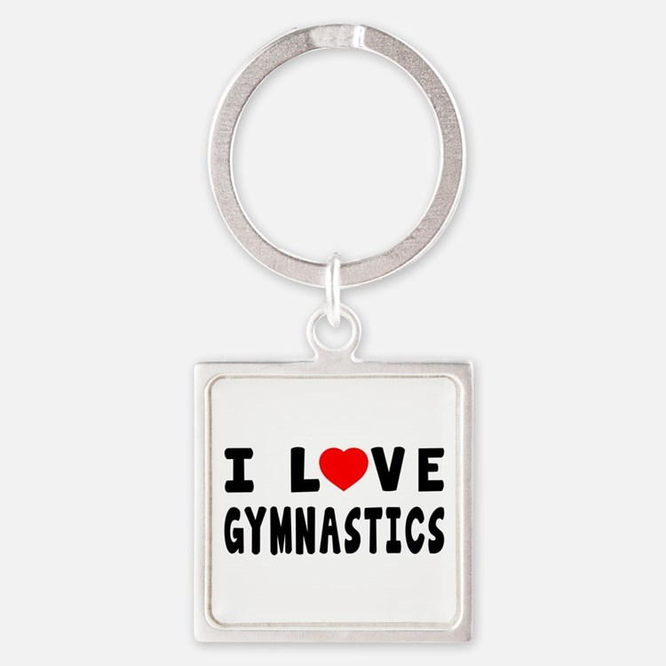 I Love Gymnastics Square Keychain