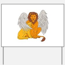 Winged Lion With Cub Under Its Wing Drawing Yard S