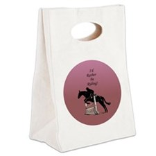 Id Rather Be Riding! Horse Canvas Lunch Tote