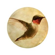 """Ruby throated hummingbird up close 3.5"""" Button"""