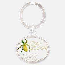 yellow lady slipper - 1 Corinthians  Oval Keychain