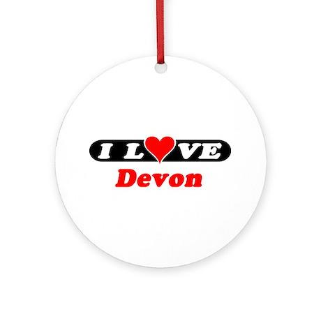 I Love Devon Ornament (Round)