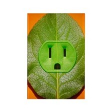 Green plant leaf with an electric Rectangle Magnet