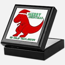 merry christmas cute dinosaur Keepsake Box