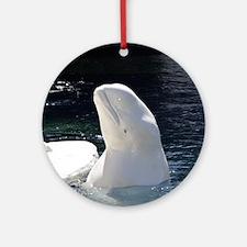 Beluga Whale Round Ornament
