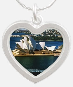 Sydney Opera House  Silver Heart Necklace