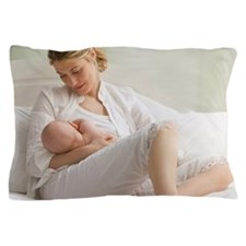 Caucasian mother breast feeding baby b Pillow Case