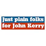 Just Plain Folks for Kerry Bumper Sticker