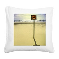 No dogs allowed sign on beach Square Canvas Pillow