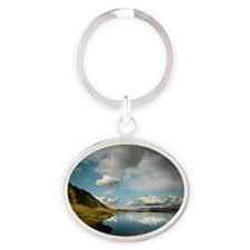 Mountains and fjord in Hvalfjordur Oval Keychain