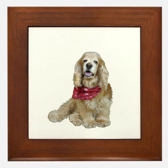 Cocker (buff-w/scarf) Framed Tile