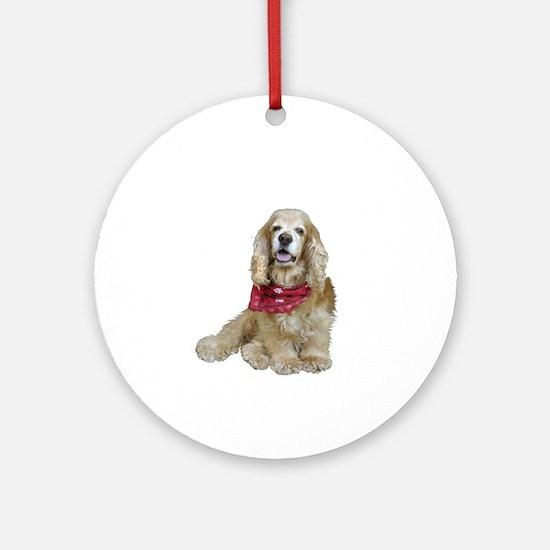 Cocker (buff-w/scarf) Ornament (Round)