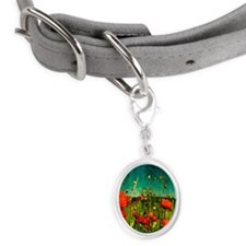 Poppies at edge of field Small Oval Pet Tag