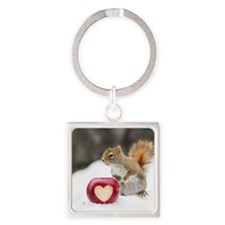 Squirrel standing in snow with app Square Keychain