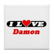 I Love Damon Tile Coaster