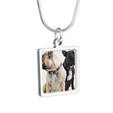 Two French Bulldogs togeth Silver Square Necklace