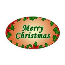 Christmas flowers Oval Car Magnet
