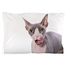 Sphynx Cat with tongue out Pillow Case