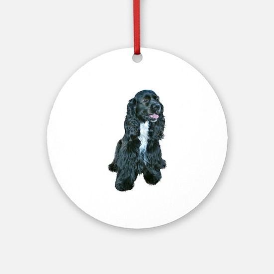Cocker (black- white bib) Ornament (Round)