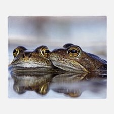 Common frogs spawning Throw Blanket