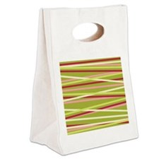 Red Green Stripes  Canvas Lunch Tote