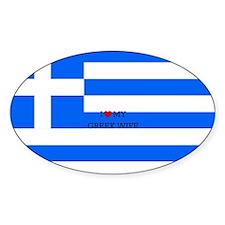 I Love My Greek Wife - Flag of Gree Decal