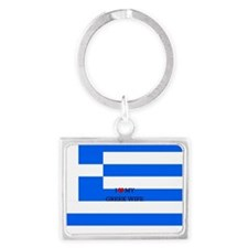 I Love My Greek Wife - Flag of  Landscape Keychain