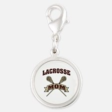 Lacrosse Mom Silver Round Charm
