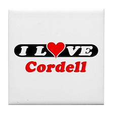I Love Cordell Tile Coaster